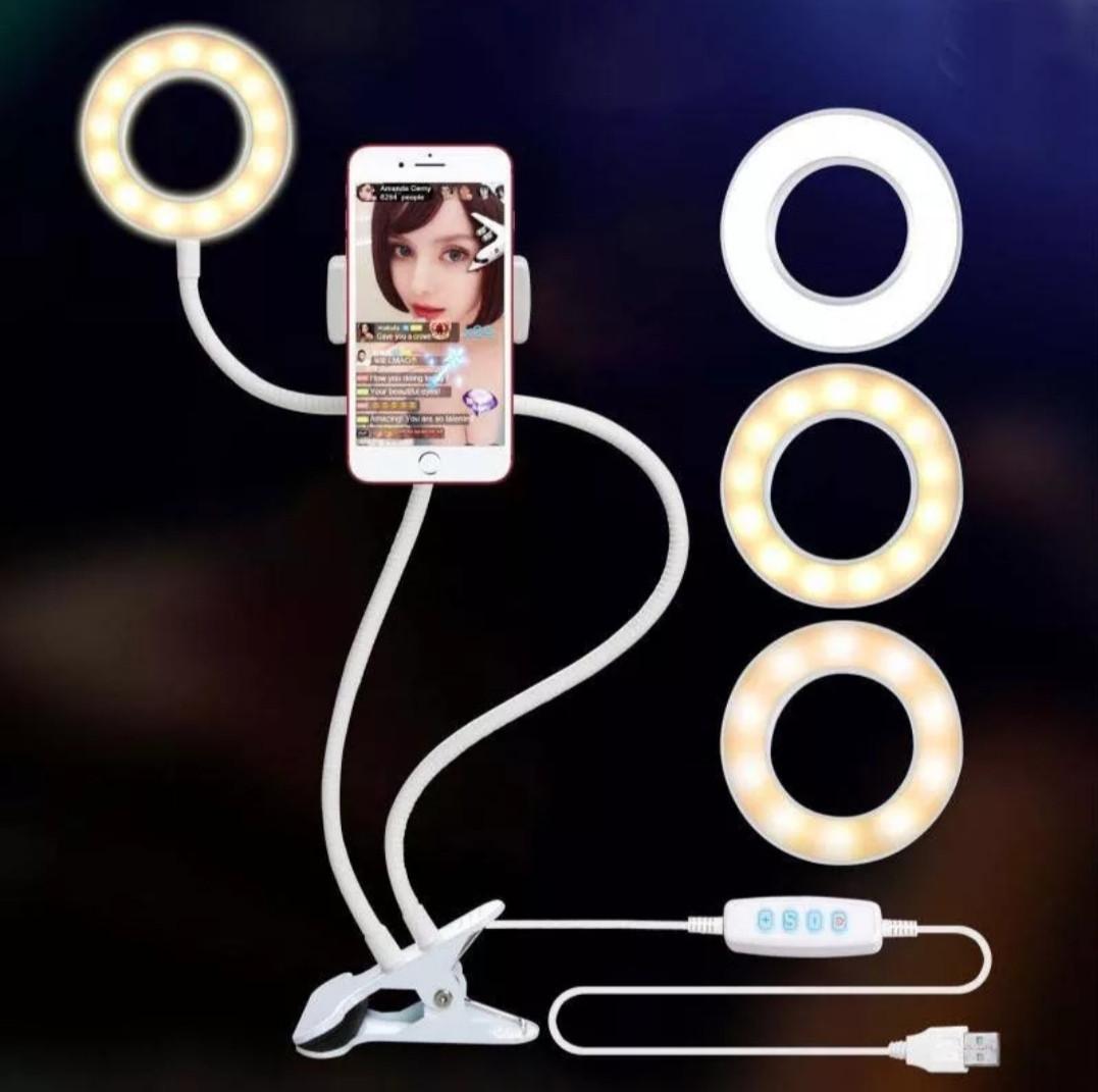 Лампа лед на прищепке с гибким держателем для телефона , USB вход, белая