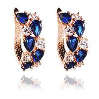 Серьги с синими камнями фианита. Элитная бижутерия