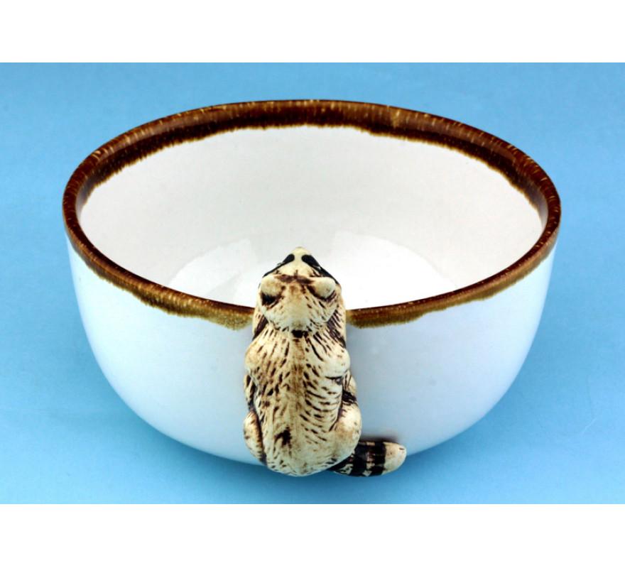 Миска из керамики Любопытный енот