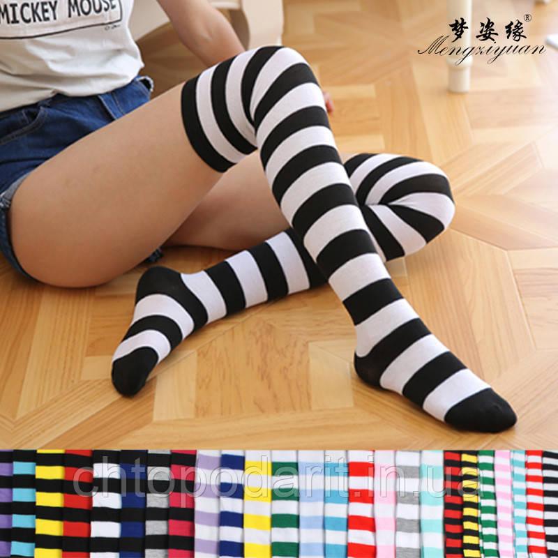 Яркие гетры разных расцветок гольфы выше колена веселые чулки черные Код 09-01069