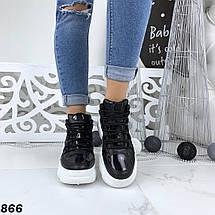 Кроссовки женские кеды черные эко лак и эко кожа, фото 2