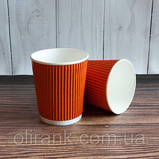 Стакан паперовий RIPPLE 300 мл 20шт/уп помаранчевий(25уп/ящ) (кр-80)