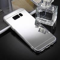 Чехол бампер для Samsung Galaxy S8 Plus G955 зеркальный серебро
