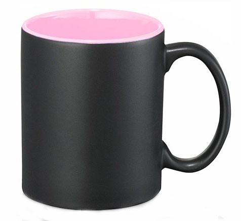 Кружка «Хамелеон» черная глянцевая, внутри Розовая