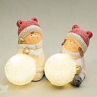 """Светящиеся керамические статуэтки """"Девочки лепят снеговика"""" 14х9 см (2 шт. набор)"""