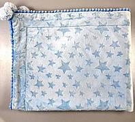 Детский плед со звёздочками, голубой, утепленный