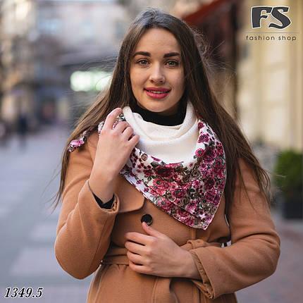 Женский шерстяной платок Цветочный Край, фото 2