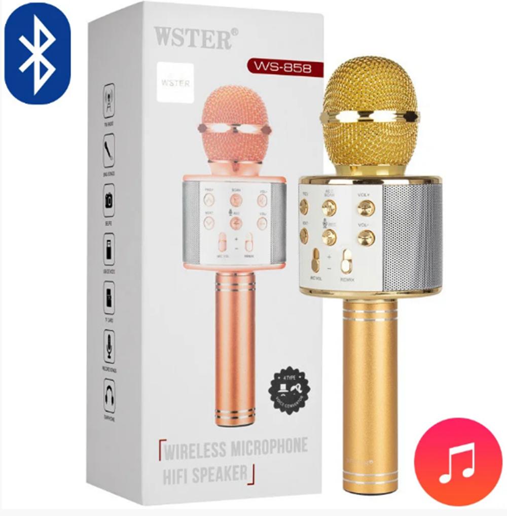 Караоке микрофон Bluetooth беспроводной WSTER 858 WS  все цвета   Original