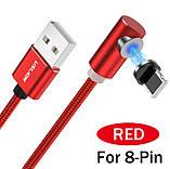 Магнітний кабель кутовий Lightning USB TOPK для iphone з підсвіткою і круглим конектором, фото 2