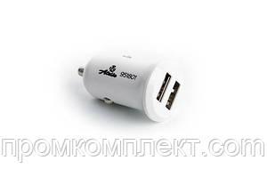 Автомобильный адаптер питания 2 USB (12/24V - 5V 2,1A) белый КОМПАКТ (12 Atelie)