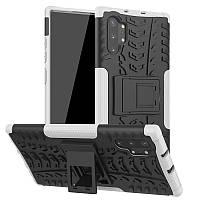 Чехол Armored для Samsung Galaxy Note 10 Plus (N975) противоударный бампер с подставкой белый
