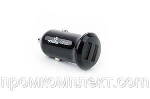 Автомобильный адаптер питания 2 USB (12/24V - 5V 2,1A) черный КОМПАКТ 12 Atelie