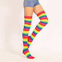 Яркие гетры разных расцветок гольфы выше колена веселые чулки радуга  Код 09-01140, фото 1