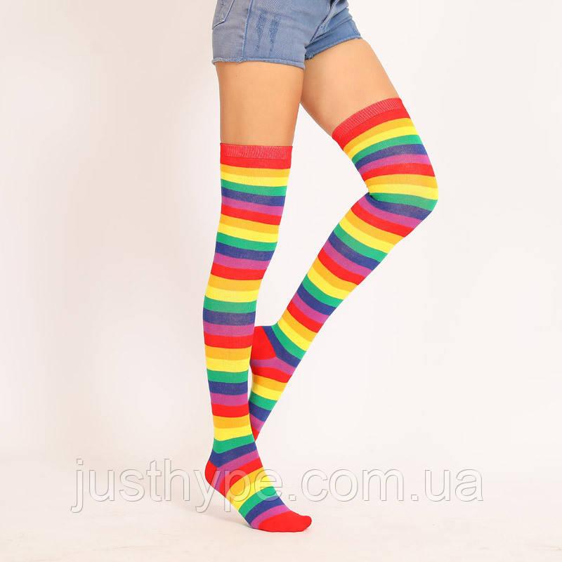 Яркие гетры разных расцветок гольфы выше колена веселые чулки радуга  Код 09-01140