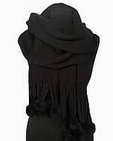 Шарф женский черный с помпонами вязаный