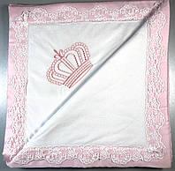 """Детский плед с кружевом и вышивкой """"Корона"""", розовый, размер М"""