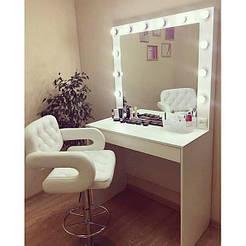 Гримерный столик с подсветкой с ящиком.Стол визажиста и гримёрное зеркало- комплект. Рабочее место бровиста ви