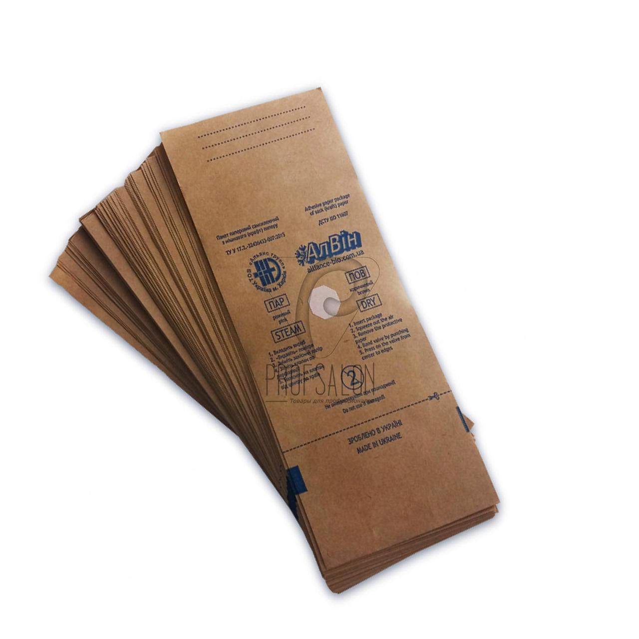 Крафт пакеты для стерилизации 100х250 Алвин, индикаторы-паровая, воздушная, этиленоксидная 100 шт