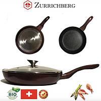 Сковорода Zurrichberg ZBP-7031L с мраморным покрытием, стеклянная крышка, 28 см.