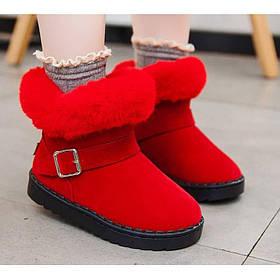 Ботинки детские зимние с мехом на девочку красные 25-36р.