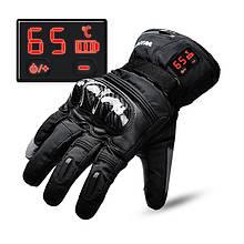 Мотоциклетные кожаные перчатки с подогревом WINNA P-1 с LED дисплеем, водонепроницаемые, 65°C, 7.4V / 2200mAh