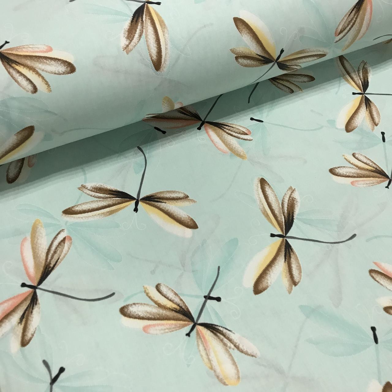 Ткань поплин стрекозы бежево-бирюзовые на мятном (ТУРЦИЯ шир. 2,4 м)