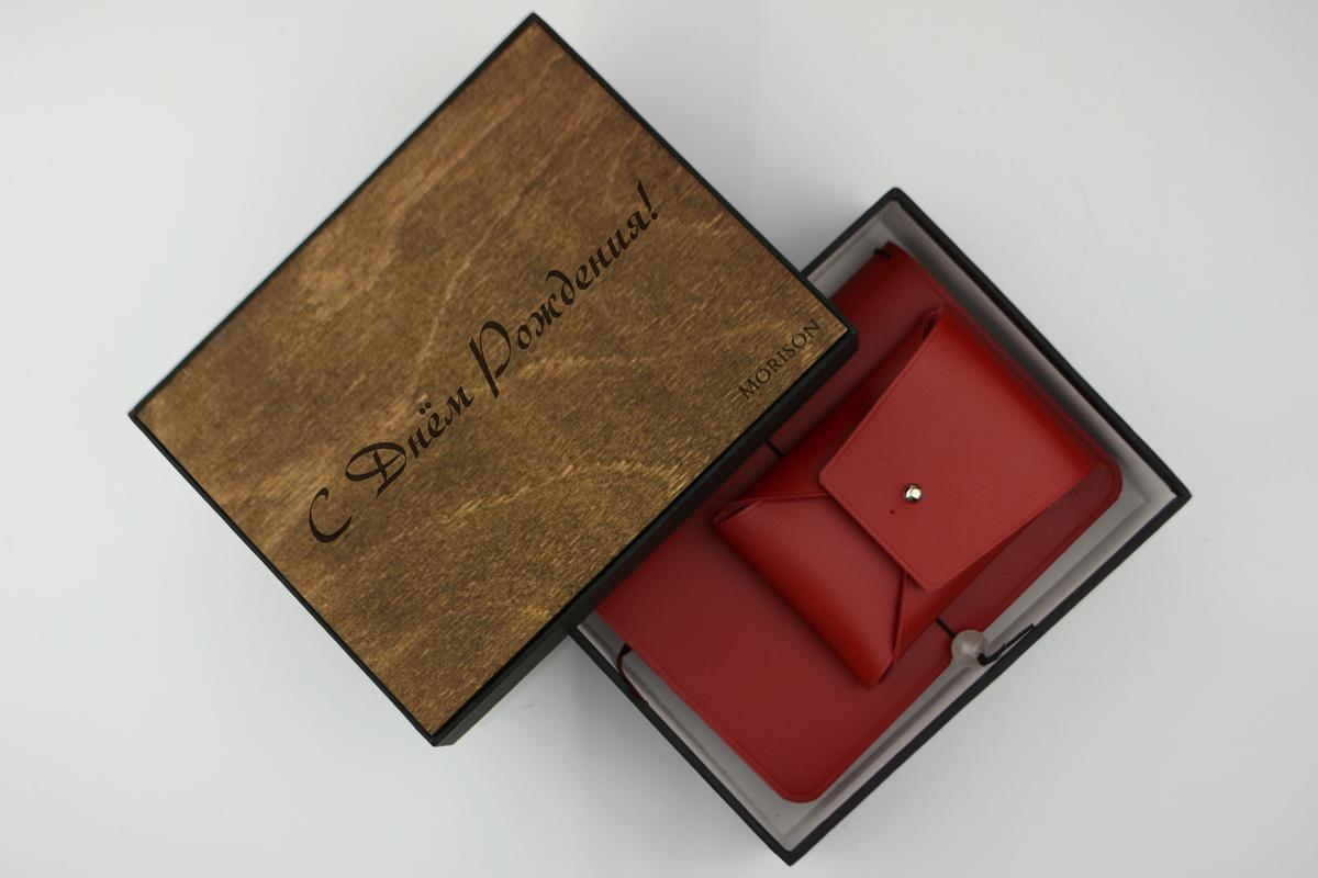 Блокнот и визитница `Dasti` красного цвета