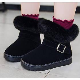 Ботинки детские зимние с мехом на девочку черные  25-34р.