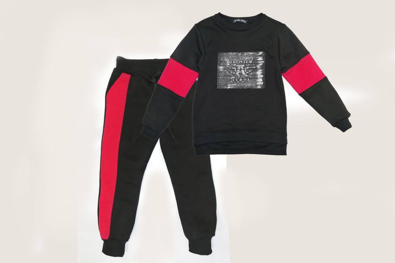 Детский теплый костюм, с начесом SmileTime Unlimeted, черный с красным