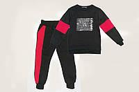 Костюм спортивный детский утепленный р.104,110,116,122,128 SmileTime Unlimeted, черный с красным