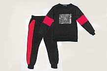 Дитячий теплий костюм, з начосом SmileTime Unlimeted, чорний з червоним