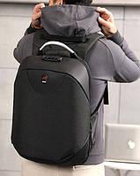 Классический мужской водонепроницаемый черный рюкзак c USB, кодовым замком городской, для ноутбука 15, 6