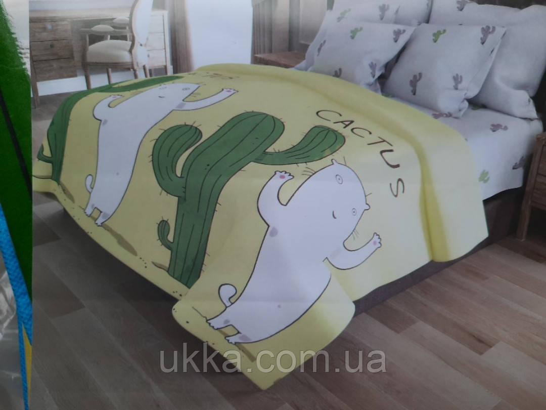 Полуторное постельное белье Кот и кактус