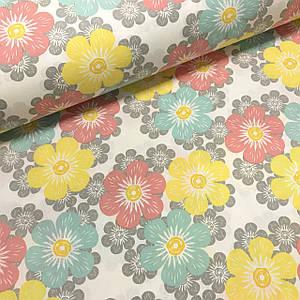Ткань поплин цветы разноцветные мятно-пудровые на белом (ТУРЦИЯ шир. 2,4 м)