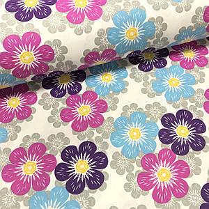 Ткань поплин цветы разноцветные сиренево-фиолетовые на белом (ТУРЦИЯ шир. 2,4 м)