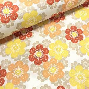 Ткань поплин цветы разноцветные красно-оранжевые на белом (ТУРЦИЯ шир. 2,4 м)