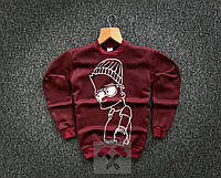 Свитшот мужской зимний Bart Simpson X burgundy кофта ТОП качество, фото 1