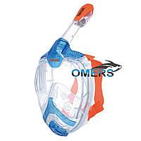 Маска полнолицевая Seac Sub Unica для плавания, сине-оранжевая
