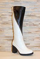 Сапоги женские зимние на каблуке белые с черным С880