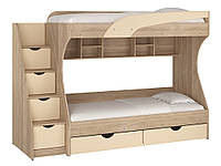 Кровать двухъярусная Кадет. Кровать для двоих детей. Кровать двухъярусная. Кровать с двумя спальными местами. ДСП дуб молочный/МДФ ваниль