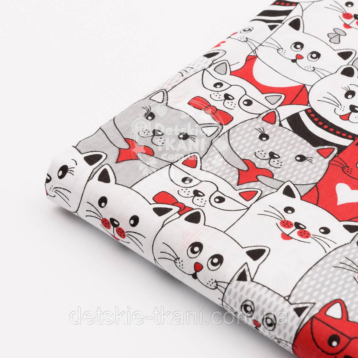 Отрез ткани с красными и серыми котами в кино, №1172