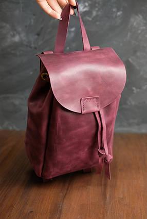 Кожаный рюкзак на затяжках с магнитом, размер мини Винтажная кожа цвет Бордо, фото 2