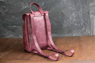 Кожаный рюкзак на затяжках с магнитом, размер мини Винтажная кожа цвет Бордо, фото 3