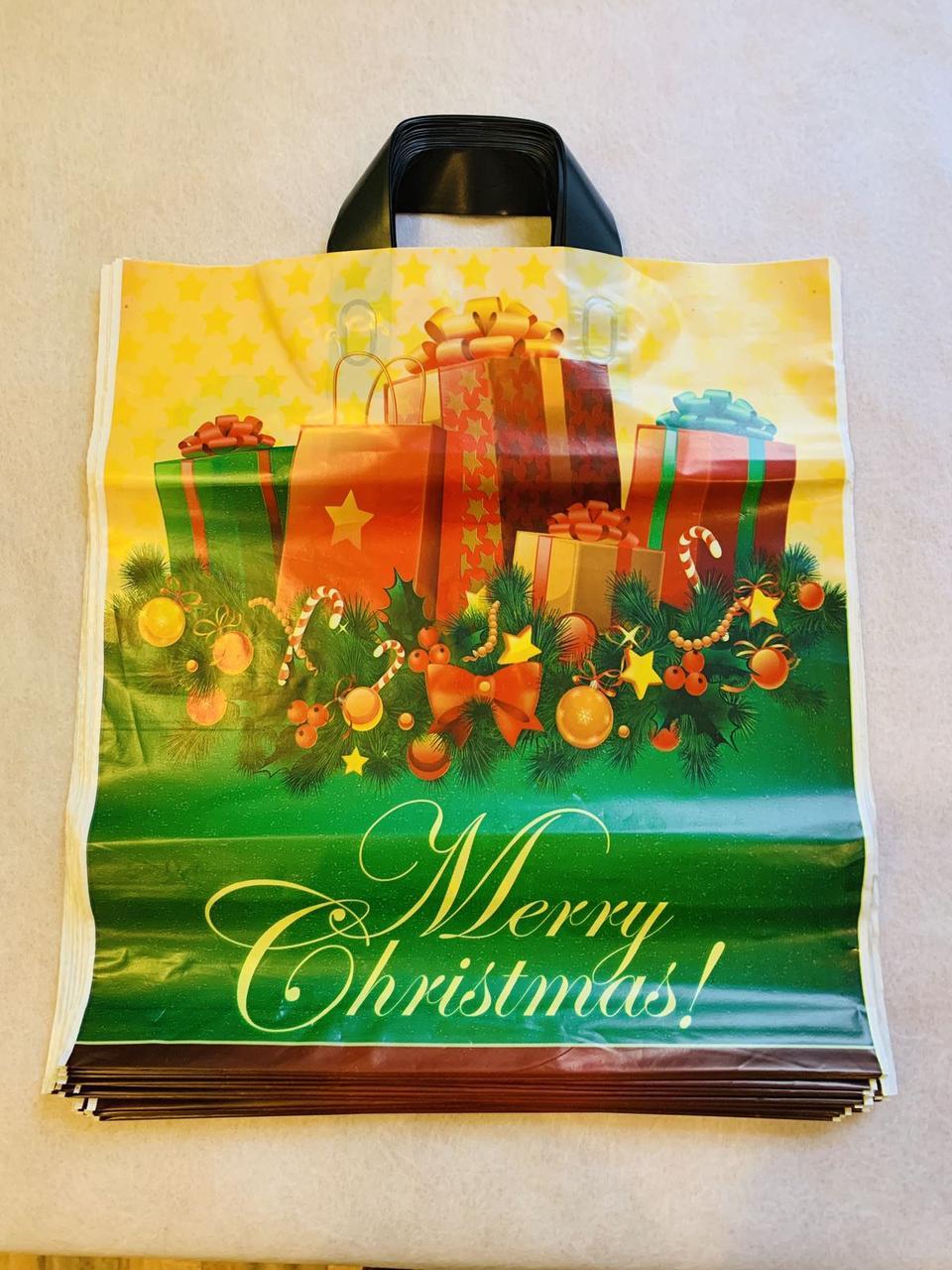 Пакет поліетиленовий з петлевою ручкою Подарунки Зима 38*43 см 25 штук