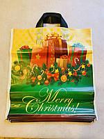 Пакет поліетиленовий з петлевою ручкою Подарунки Зима 38*43 см 25 штук, фото 1