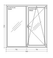 "Окно металлопластиковое  Veka WHS HALO - 60, 9-этажка ""Чешка""  1500х1550 мм"