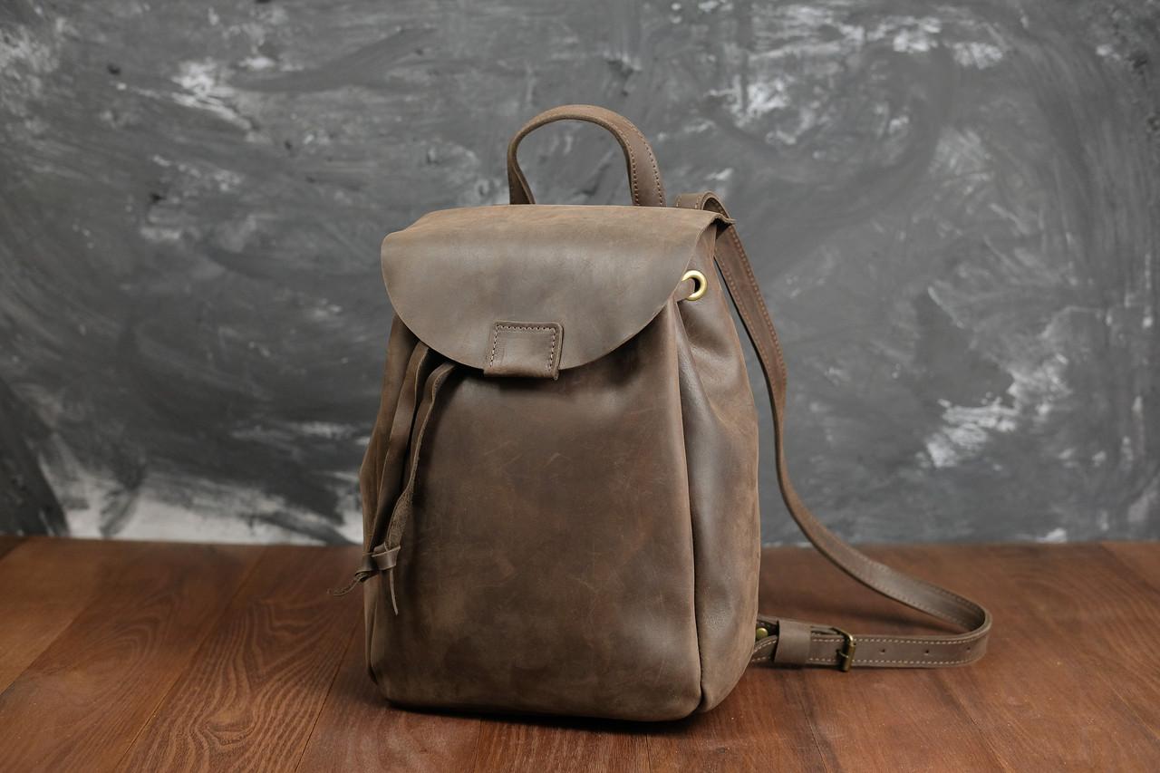 Рюкзак на затяжках с магнитом, размер мини Винтажная кожа цвет Шоколад