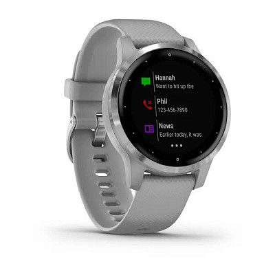 Смарт-годинникVivoactive 4SSilver Stainless Steel Bezel with Powder Gray Case and Silicone Band з сіримрем