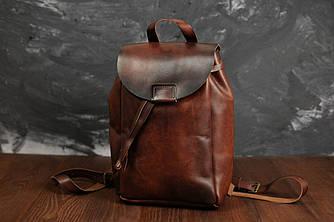 Кожаный рюкзак на затяжках с магнитом, размер мини Кожа Итальянский краст цвет Вишня