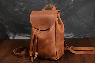 Кожаный рюкзак на затяжках с магнитом, размер мини Винтажная кожа цвет Коньяк